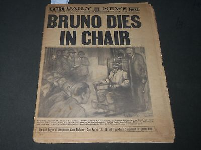 1936 APRIL 4 NEW YORK DAILY NEWS NEWSPAPER - BRUNO DIES IN CHAIR - NP 2838
