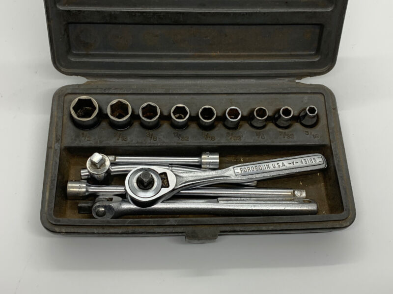 """Vintage Craftsman 43185 V 1/4"""" Drive 14 pc. Stand. Ratchet & Socket Set 1/2-3/16"""