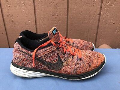 Nike Men's Size US 12 Flyknit Lunar 3 Running Shoes Orange Black 698181 406 A2