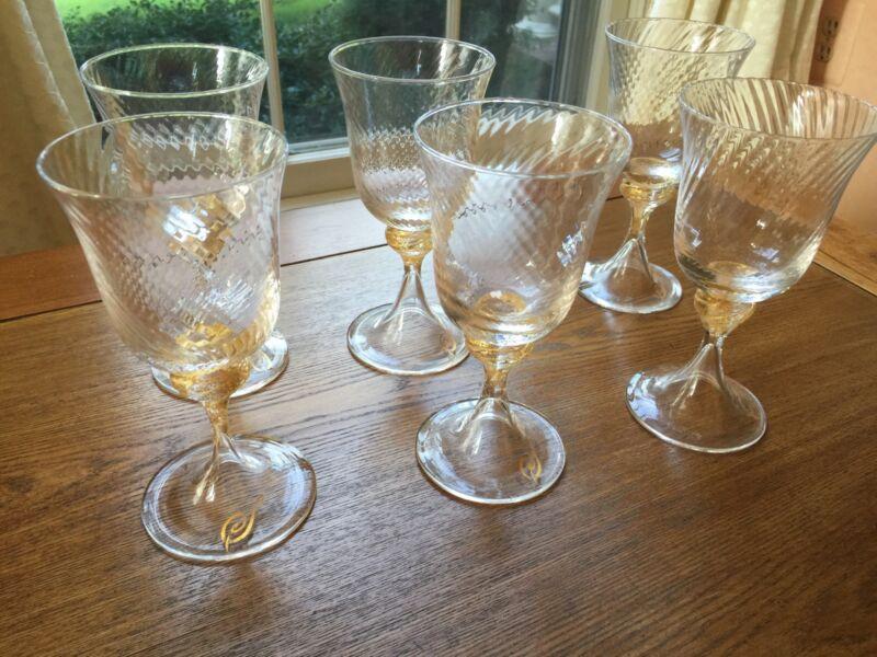 Six Venetian glass Wine Goblets