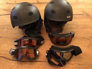 Ski helmets and goggles