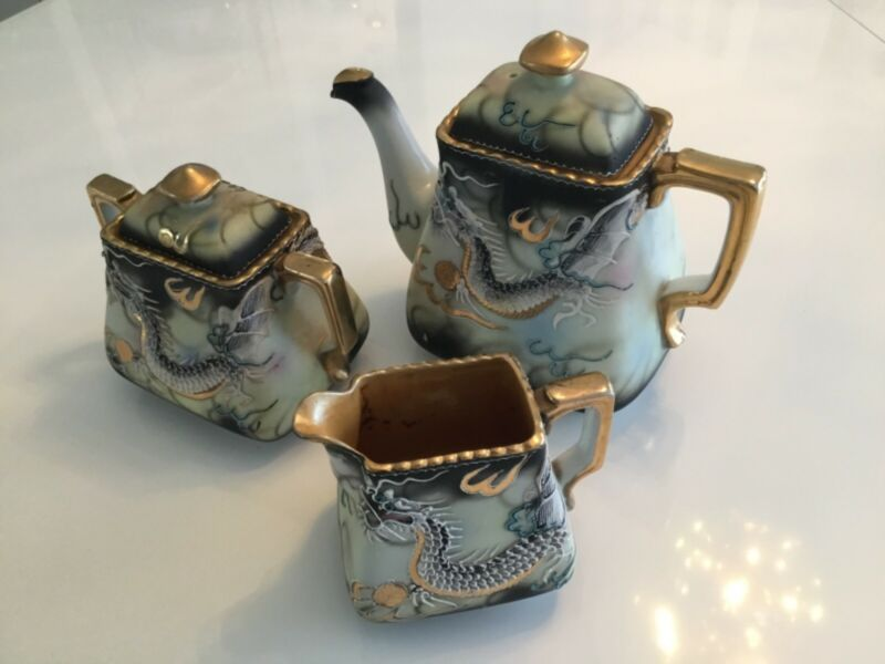 Vintage Hinode Dragon tea pot with sugar and creamer