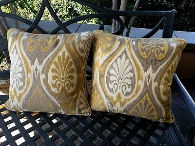 Set of 2 Sunbrella Yellow Throw Pillows 16x16 Indoor/Outdoor