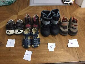 5 pairs of boys shoes sizes 3,4,5 and 6