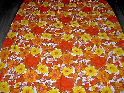 Vintage 60s 70s flower power orange yellow white large length fabric / curtain