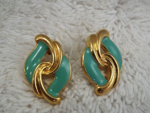 Goldtone Seafoam Teal Pierced Earrings (A78)