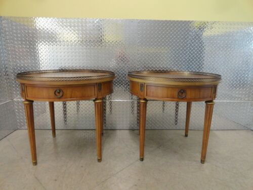Henredon Round Top End Table With Brass Gallery Top - Pair