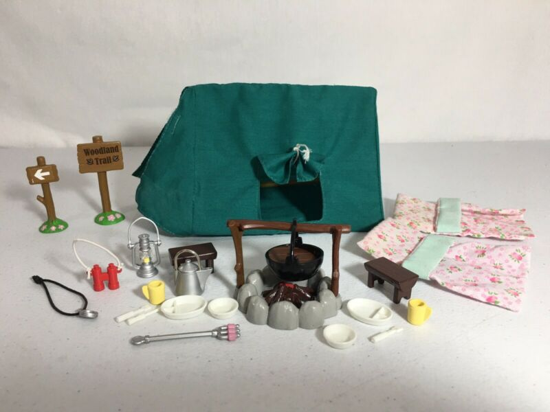 Calico critters/sylvanian families Vintage Camping Tent Campfire Sleeping Bags