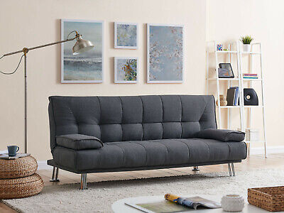 Charcoal Grey Fabric Sofa Bed Three Seater Extra Bed Modern & Stylish Design