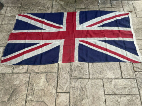 WW2 Original British Union Jack Stitched Linen Flag 180cm x 88cm VE Day Military