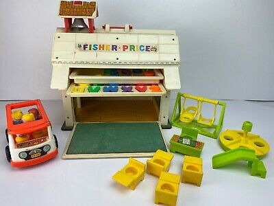Vintage Fisher Price Little People 923 Play Family School House Rare Figures Bus
