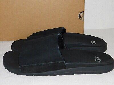 NEW MENS SIZE 10 BLACK UGG XAVIER TF TWINFACE SUEDE SHEEPSKIN SLIDES SANDALS Suede Mens Sandals