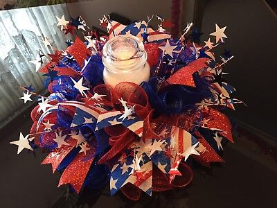 """17"""" Handmade 4th Of July/Patriotic Mesh Centerpiece/Candle Holder - - 4th Of July Centerpieces"""