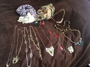 Assorted necklaces, scarves & flower headband