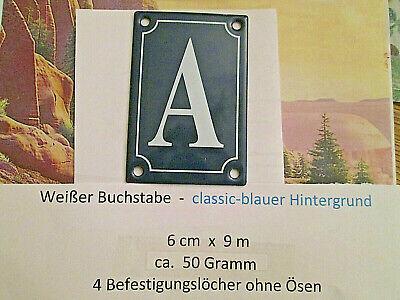 Haus-nr. (A  Emaille Haus Nr. Zusatz weisser Buchstabe blauer Hintergrund 6 cm x 9 cm ANr2)