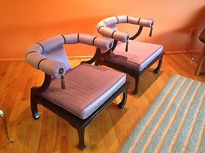 Vintage James Mont Mid Century Asian Modern Club Lounge Chairs