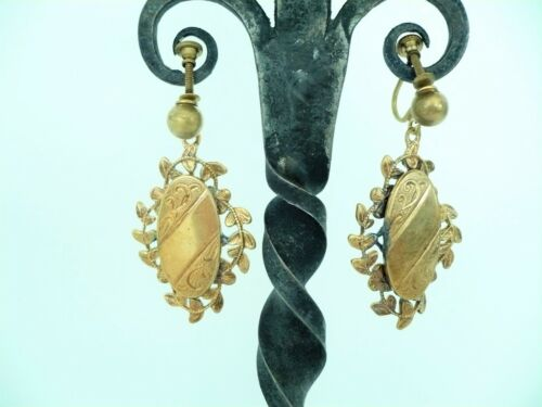 Victorian Antique Yellow Gold Filled Dangle Drop Earrings Etched Oval Screw Back
