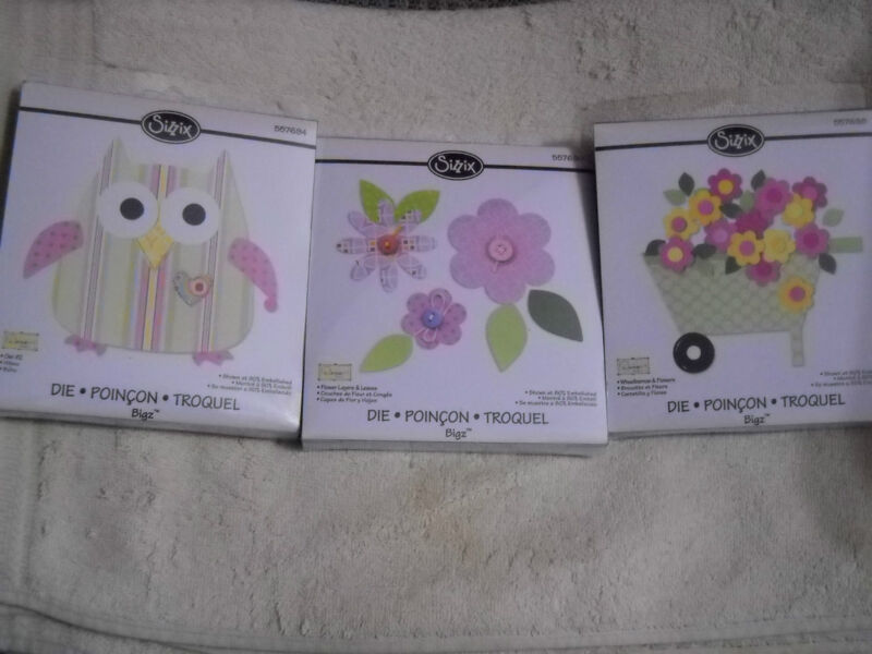 Sizzix -  Die Cuts Wheelbarrow/Flowers/Owl - NIP - great for paper /a+product B