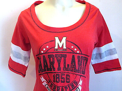 Maryland Terrapins T Shirt College Football Red Boat Neck Womens Size L New