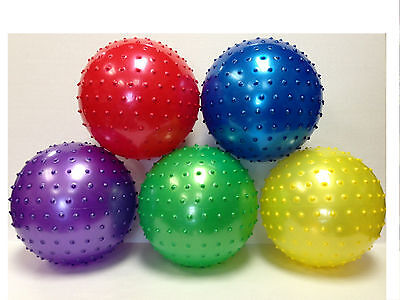 """4 PCS 2 RED & 2 BLUE SOFT 10"""" KNOBBY BALLS CHILD BOUNCY  AUTISM THERAPY SENSORY"""