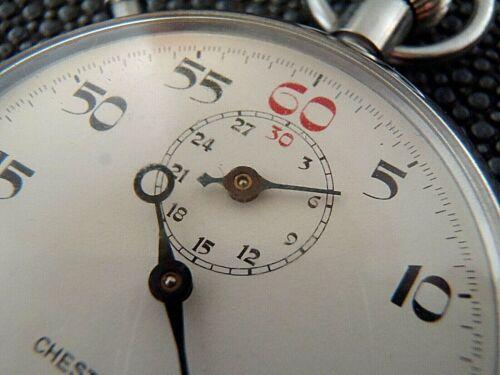 Working vintage Swiss Chesterfield 1/5 stopwatch timer, original box, receipt