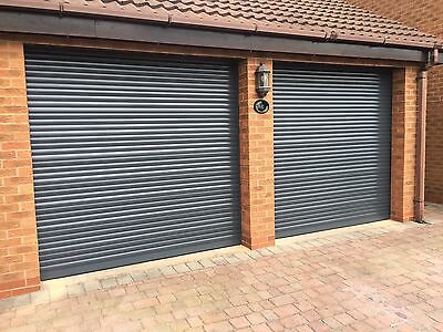 ELECTRIC GARAGE DOOR ROLLER 7FT X 7FT INSULATED WITH 2 REMOTES ANTHRACITE GREY