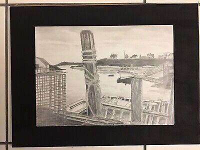 Pencil Sketch of Pier in Nova Scotia