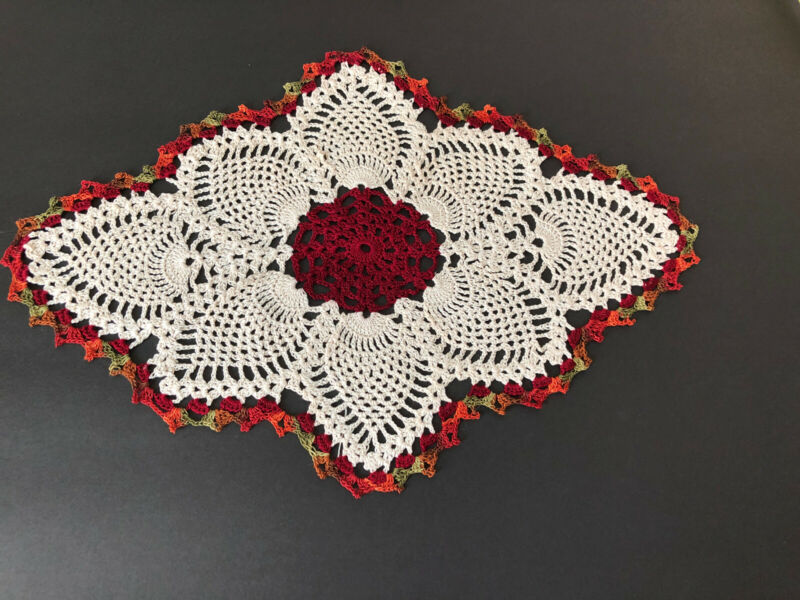 """Brand New Hand Crocheted Fall Oval Falling Leaves 18 By 12 1/2""""  Doily"""