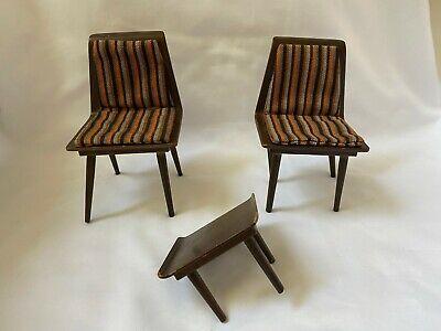 VTG Barbie Mattel Mid-Century Danish Modern Dollhouse Furniture Chairs & Table
