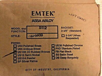 EMTEK Hermes Lever 5112 Oil Rubbed Bronze Left Handed Passenger/Dummy Free Shipp