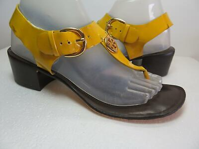 TORY BURCH Sz 9 Yellow Patent Leather Logo Thong Sandals