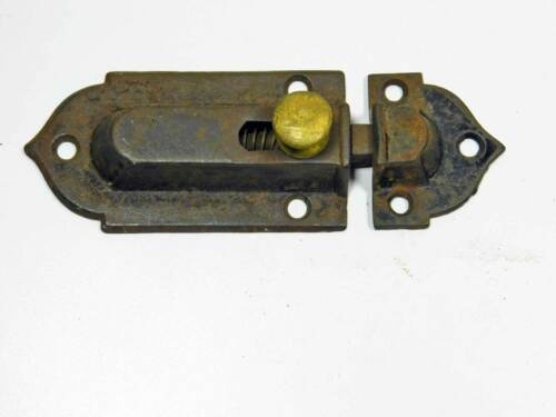 One Early Victorian Cupboard Latch Cast Iron, Brass Knob, Working Complete 1860