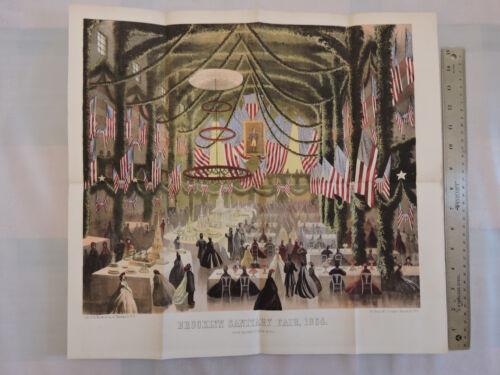 Original 1864 Brooklyn Heights 17x18 Lithograph Civil War Fair Academy of Music