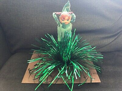 Vintage ELF CHRISTMAS Tree Topper / Ornament GREEN FOIL Green - Christmas Elf Outfits