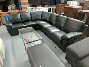 Lucas Corner Lounge - Chocolate Leather - 60% off RRP Eumemmerring Casey Area Preview