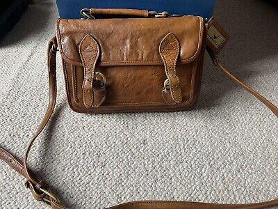 Vintage Hidesign Brown Leather Crossbody Bag