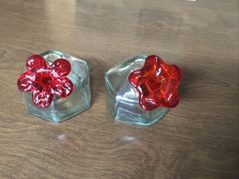 Vintage Hand blown Glass Par A Sol Hummingbird Feeder Light Green Red Flower