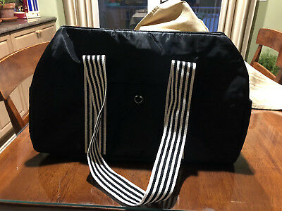 "DSW DUFFLE GYM BAG  WEEKENDER Black White Stripe Strap Nylon 20"" NEW"