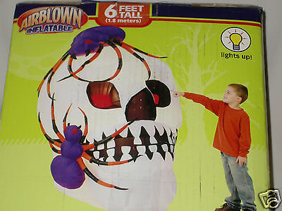Rare Gemmy 6' Lighted Haunted Halloween Skull W/spiders Airblown Inflatable