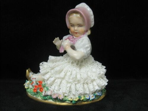 Sitzendorf Germany Dresden Lace Figurine Girl Sitting amongst Flowers MINT COND