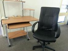 COMPUTER DESK. COMPUTER CHAIR, Large, Black, Leather, Sturdy. Caulfield South Glen Eira Area Preview