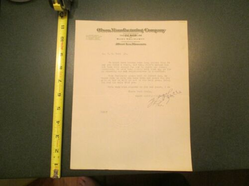 Olson Manufacturing Company Barn Equipment  invoice Letterhead 1110