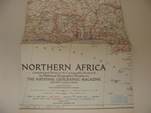 Vintage National Geographic Society Map Northern Africa Dec 1954