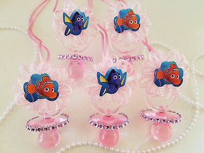 Nemo & Dory 12 Pink Pacifier Necklaces Baby Shower Game Under The Sea Girl - Nemo Baby Shower