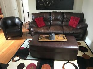 Leather sofa and ottoman plus chair