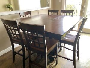 Solid wood dining table with 6 chairs $200