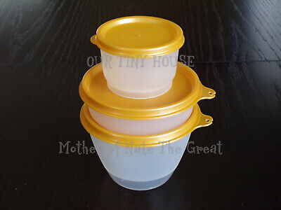 Vtg Tupperware Lunch Set Refrigerator Little Wonders Bowl & Snack Cup Jewel Gold