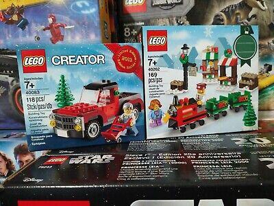 Lego Creator 40083 & 40262 Christmas Tree Truck & Holiday Train Limited Edition