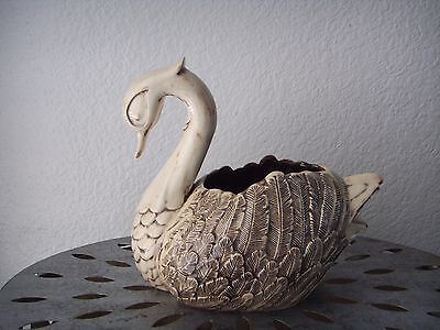 Vintage 1976 Ceramic Swan Tray Decorative Bowl Figurine Brown Planter Signed