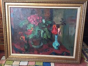 Floral signed oil painting